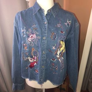 90's Alice in Wonderland button up blouse